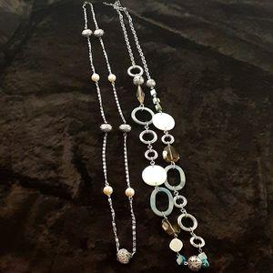 2 long statement necklaces